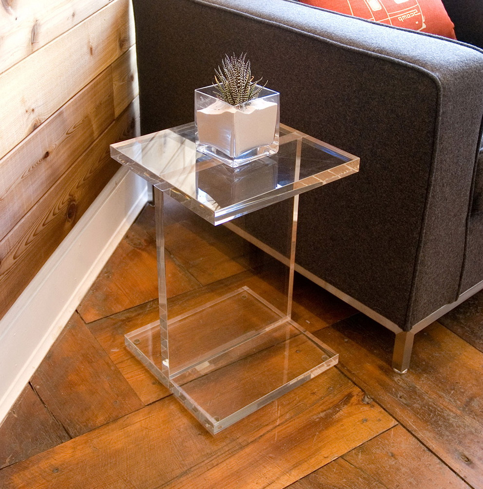 console narrow furniture table acrylic with small clear modern top ideas glass base