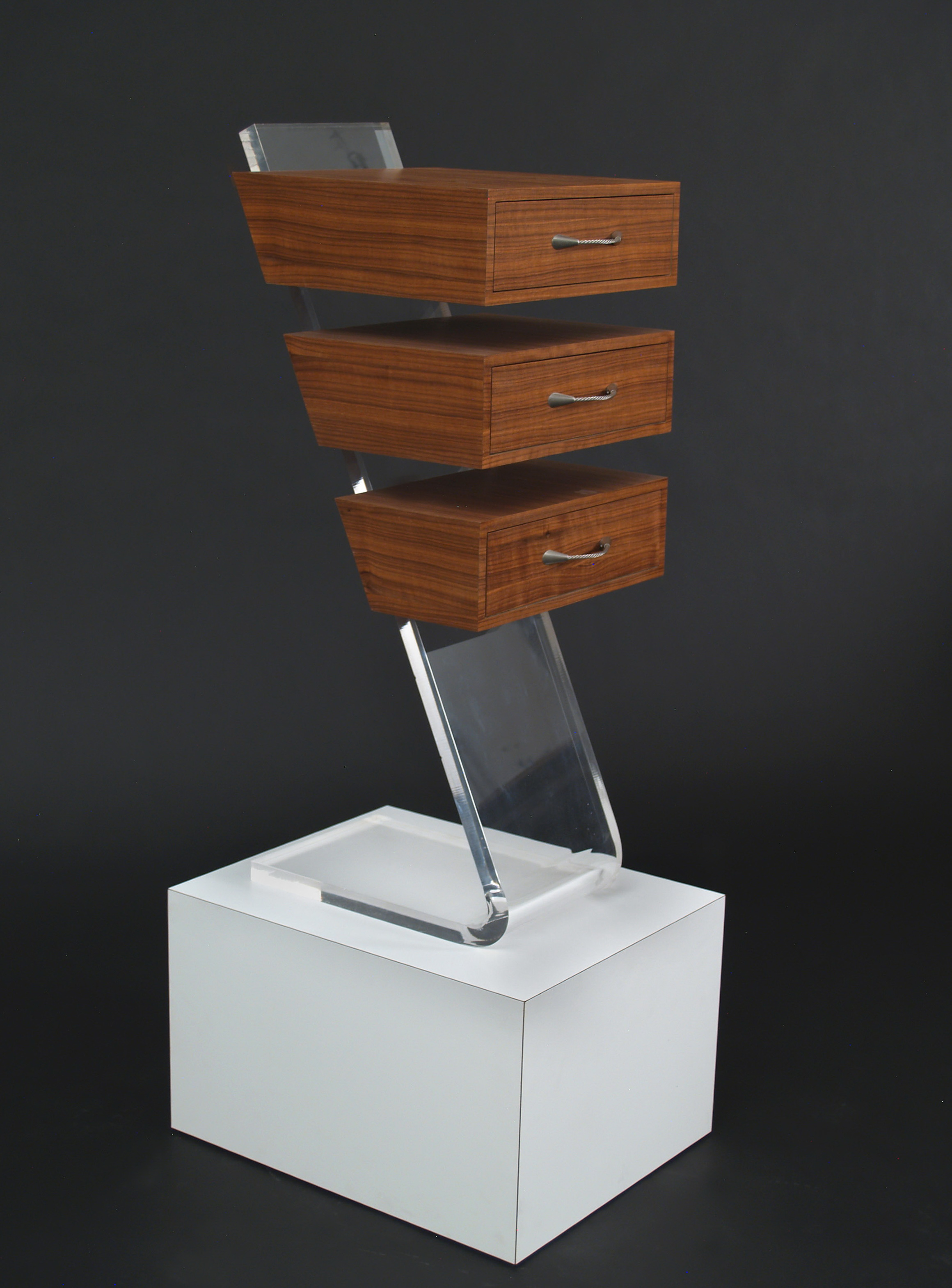 Acrylic Side Table With Drawer