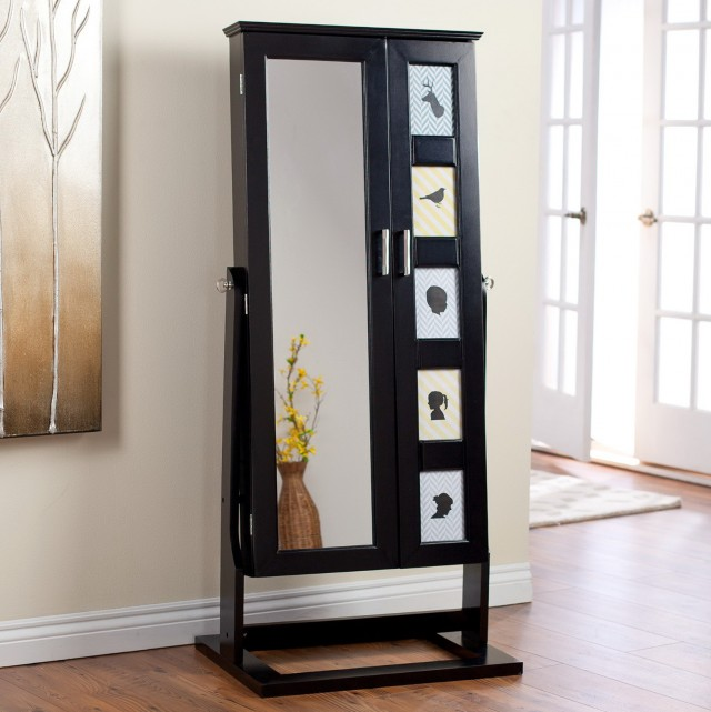 Black Jewelry Armoire Mirror