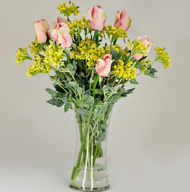 Floral Arrangements In Glass Cylinder Vases