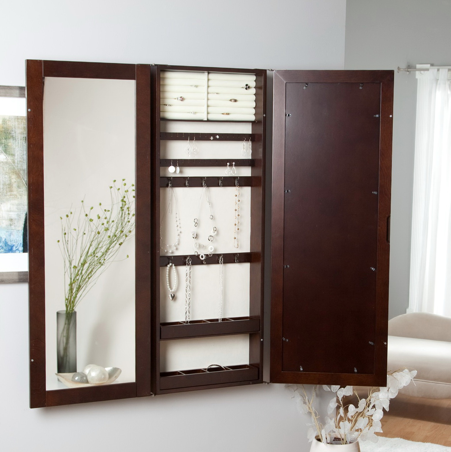 Jewelry Armoire Mirror Wall Mount