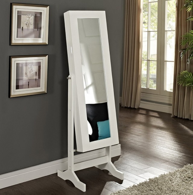 Jewelry Armoire Mirror White
