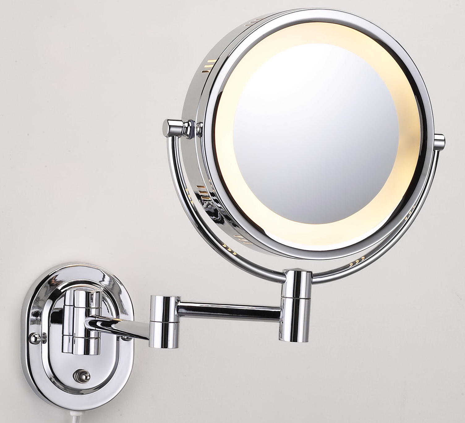Lighted makeup mirror wall mount home design ideas for Wall mounted mirror