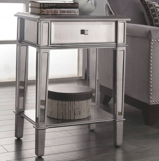 Mirrored Accent Table With Drawer