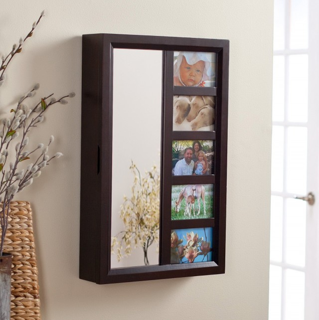 Mirrored Jewelry Armoire Wall Mount