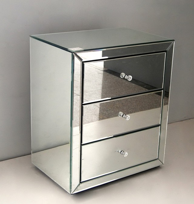 Mirrored Side Table With Drawer