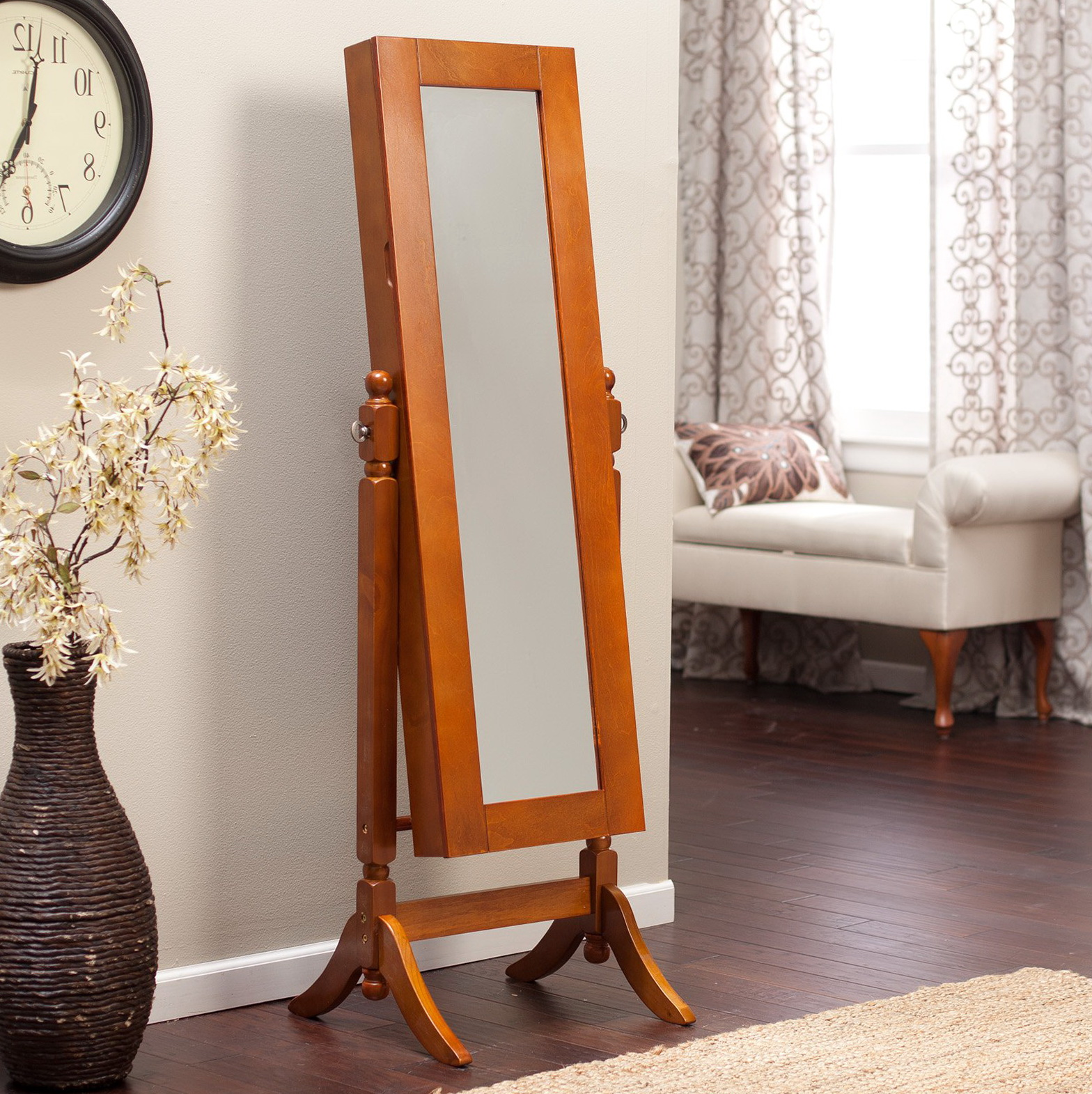 Oak Jewelry Armoire Mirror