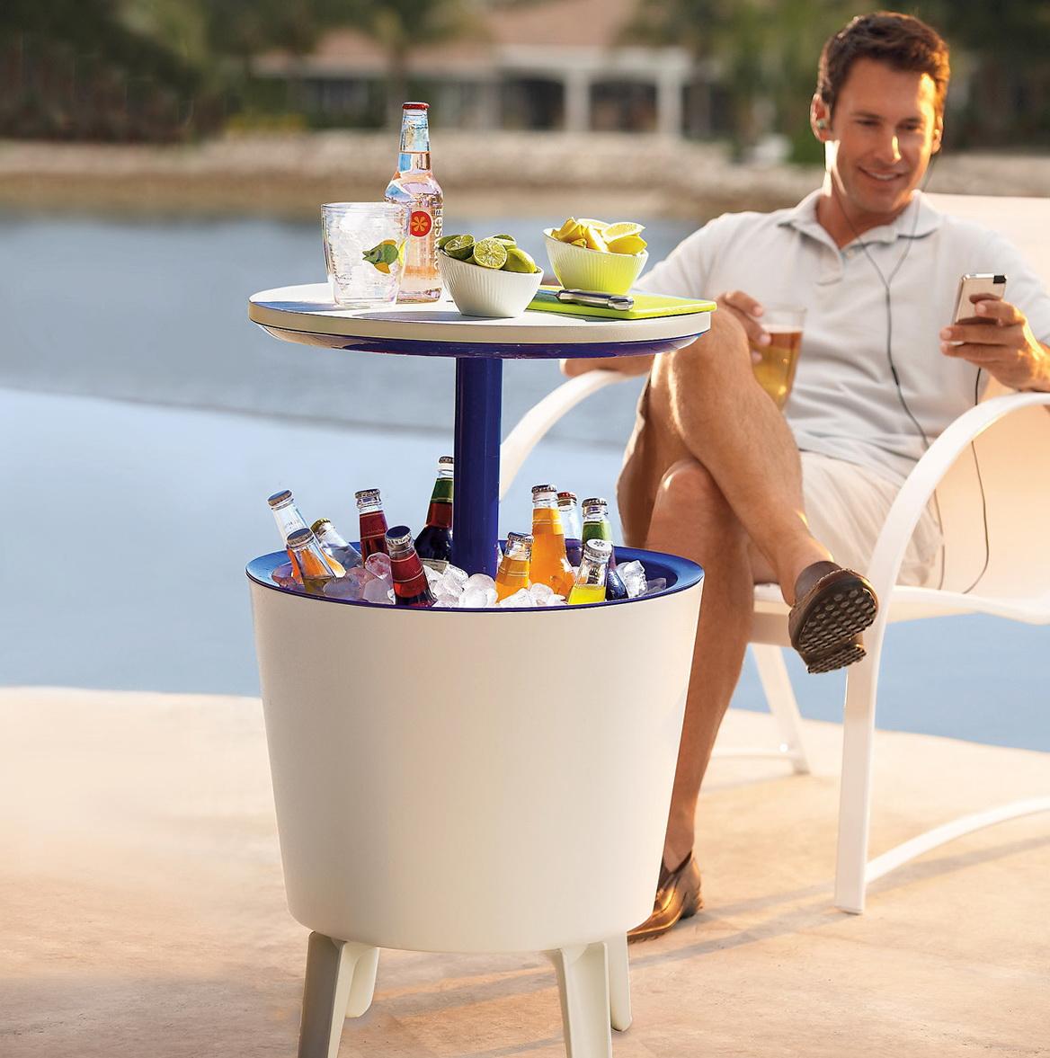 Outdoor Side Table Beverage Cooler
