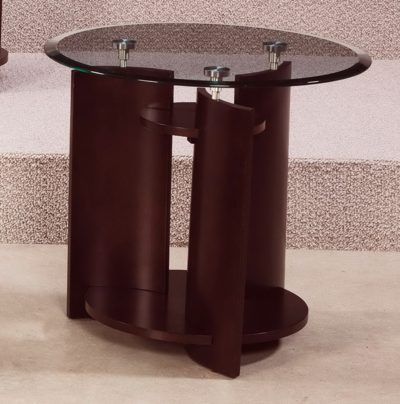 Round Accent Table With Glass Top