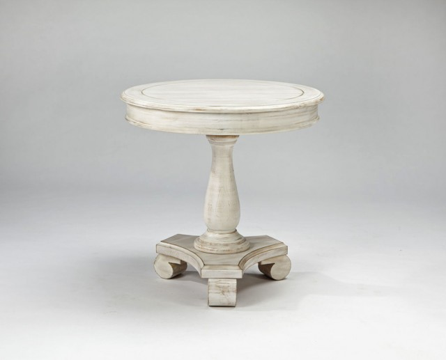 Round White Accent Table