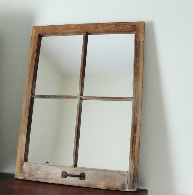 Rustic Window Pane Mirror