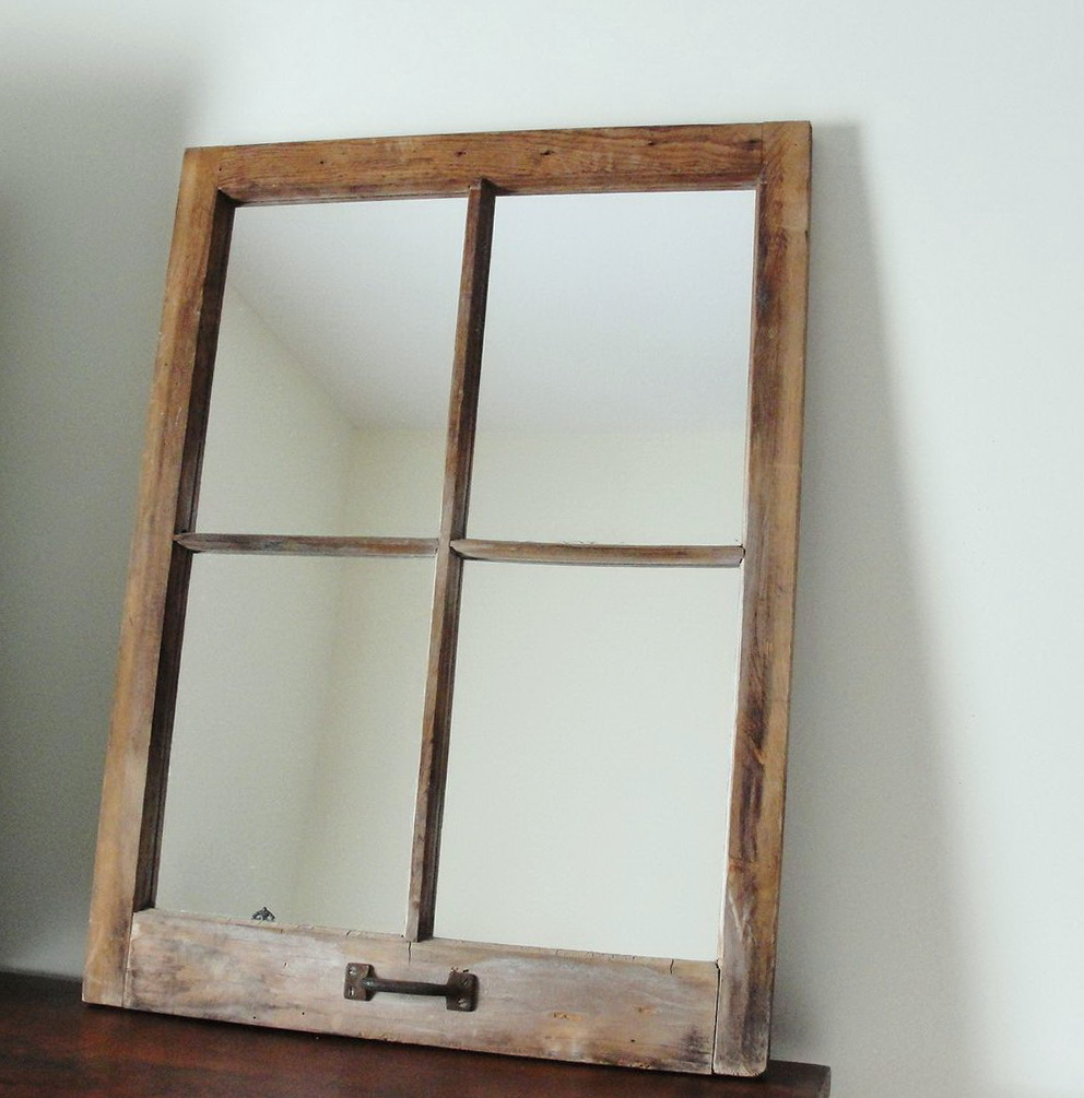 Rustic Window Pane Mirror Home Design Ideas
