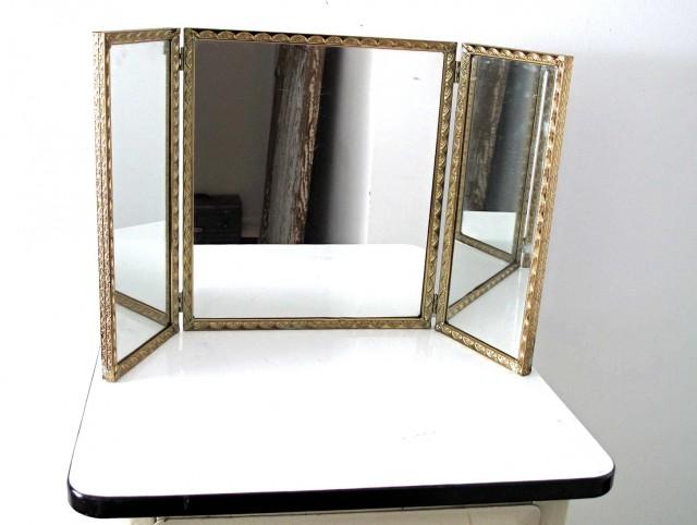 Vintage Tri Fold Mirror