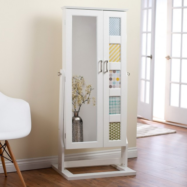 White Mirror Jewelry Armoire