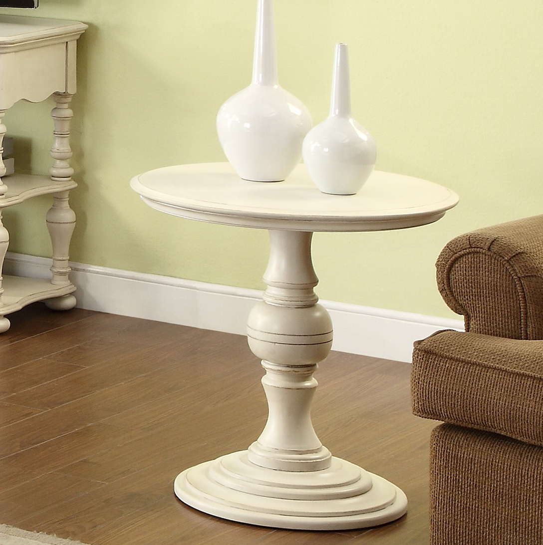 White Round Accent Table