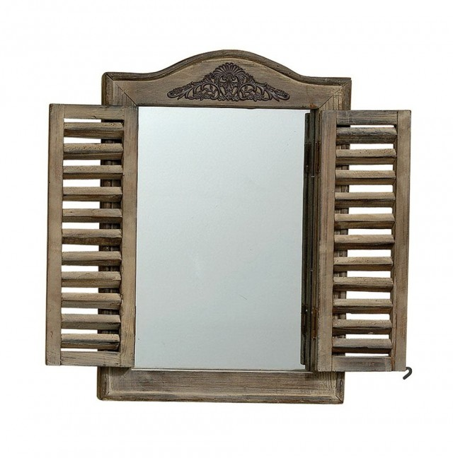 Window Pane Mirror With Shutters