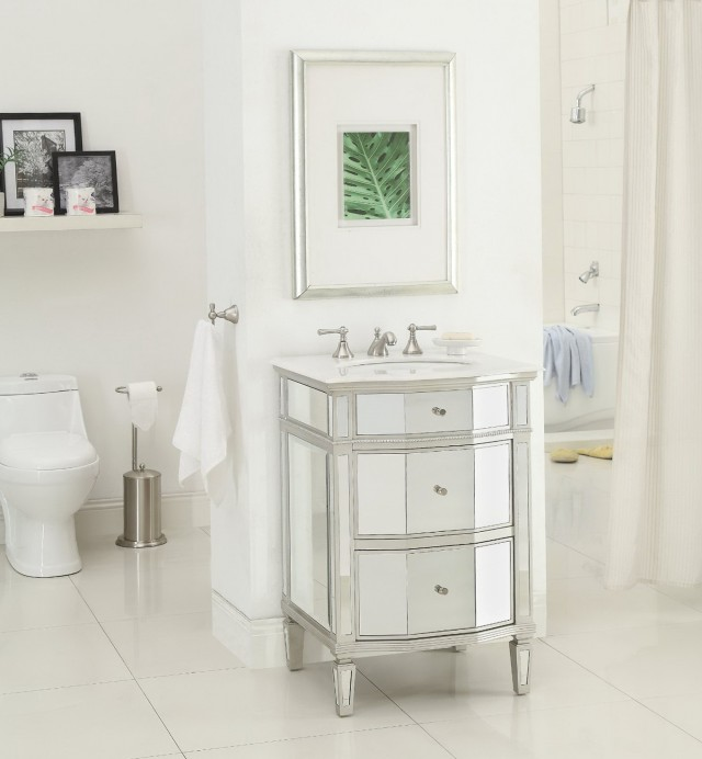 24 Inch Mirrored Bathroom Vanity