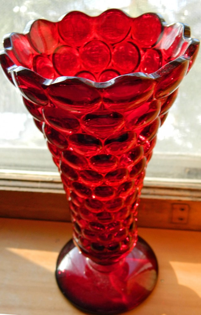 Antique Red Glass Vase