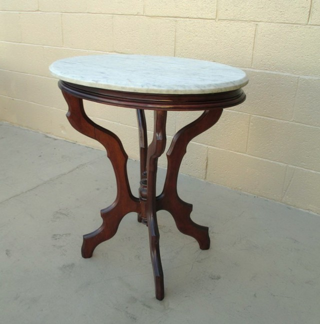 Antique Side Table With Marble Top