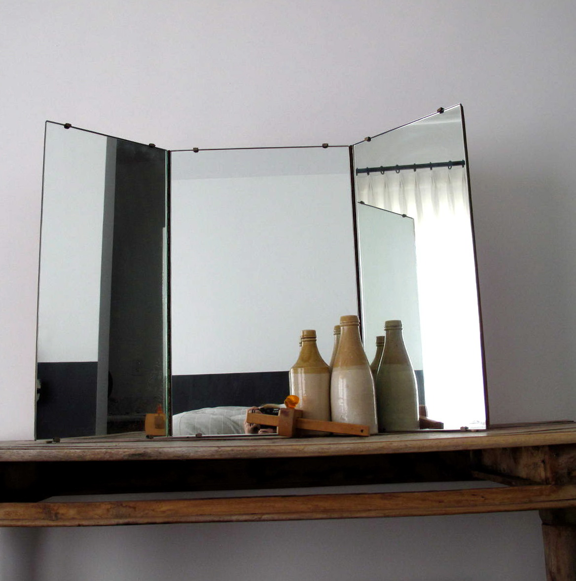 Antique Tri Fold Vanity Mirror