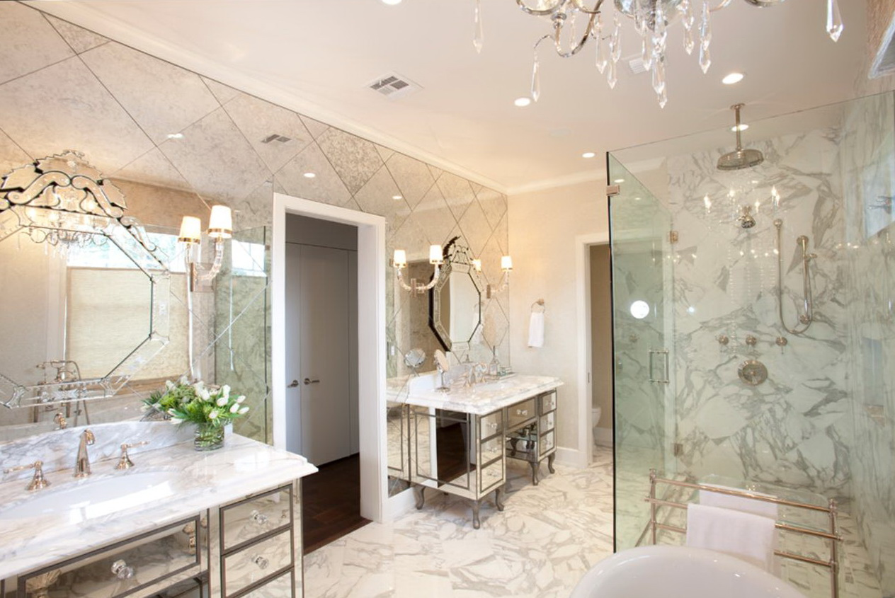 Beveled Mirrored Subway Tiles