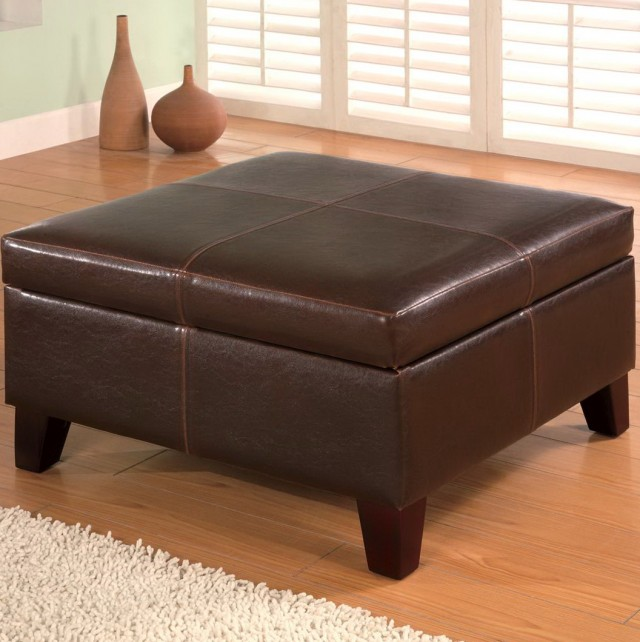 Big Square Leather Ottoman
