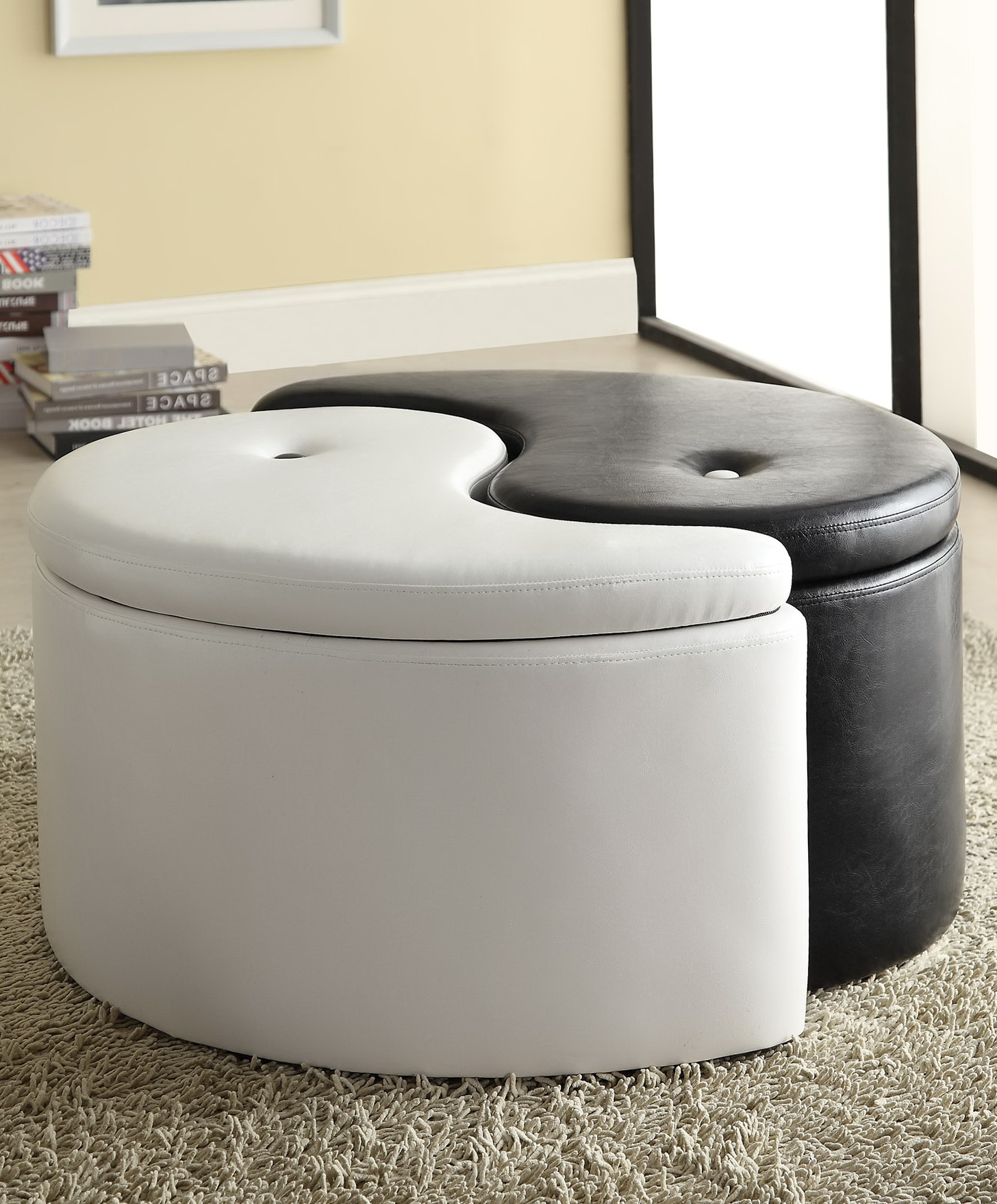 Black And White Storage Ottoman