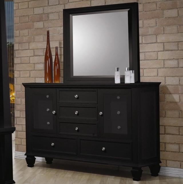 Black Dresser With Mirror Set