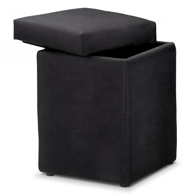Black Fabric Storage Ottoman
