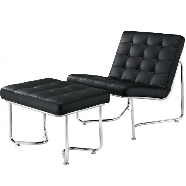 Black Leather Chair With Ottoman