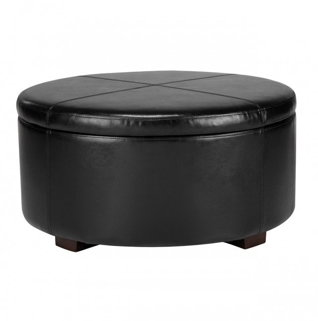 Black Leather Cocktail Ottoman