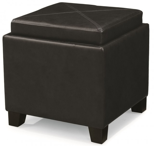 Black Leather Cube Ottoman