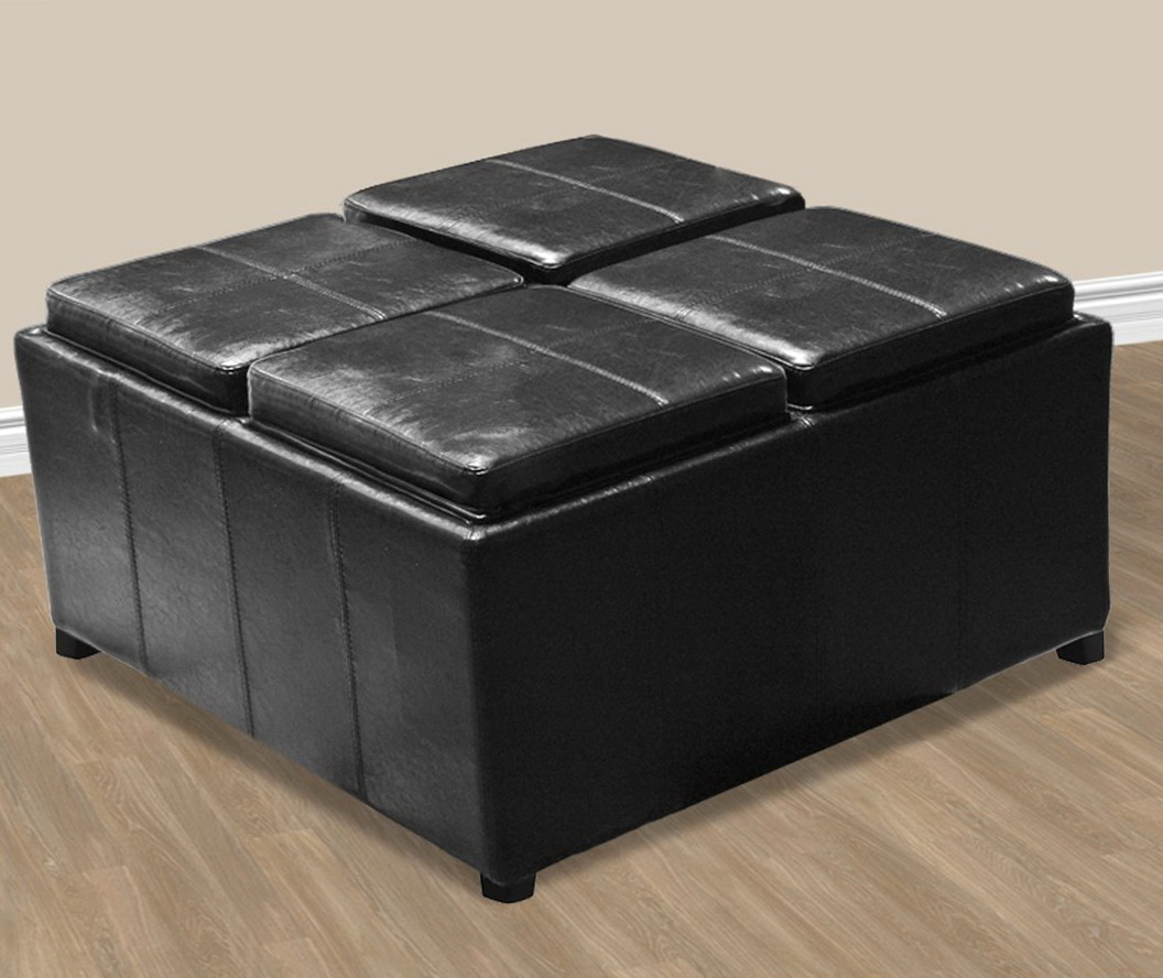 Black Leather Ottoman Coffee Table