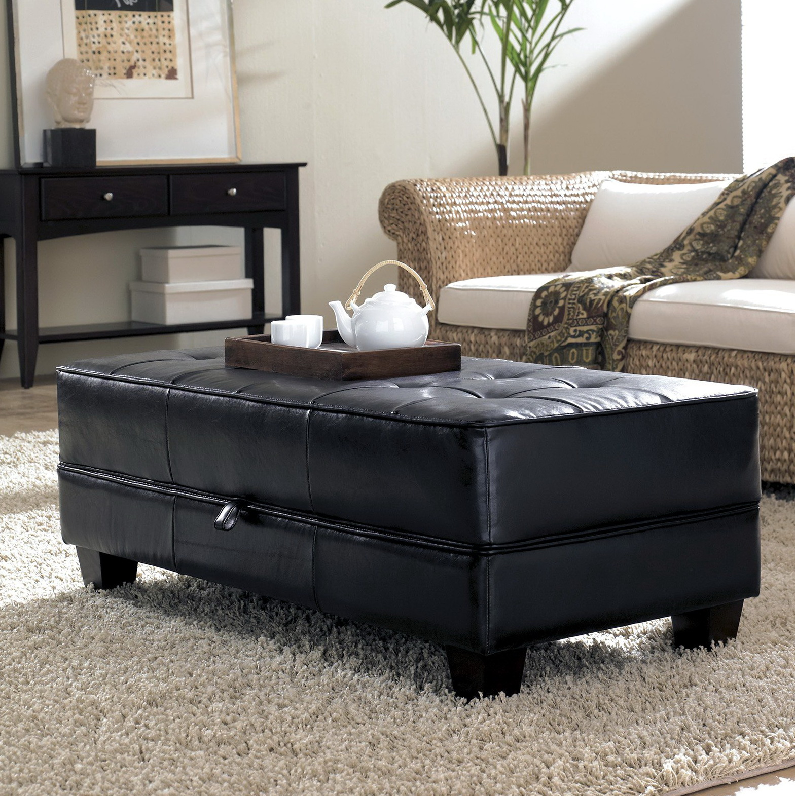 Black Leather Storage Ottoman Coffee Table