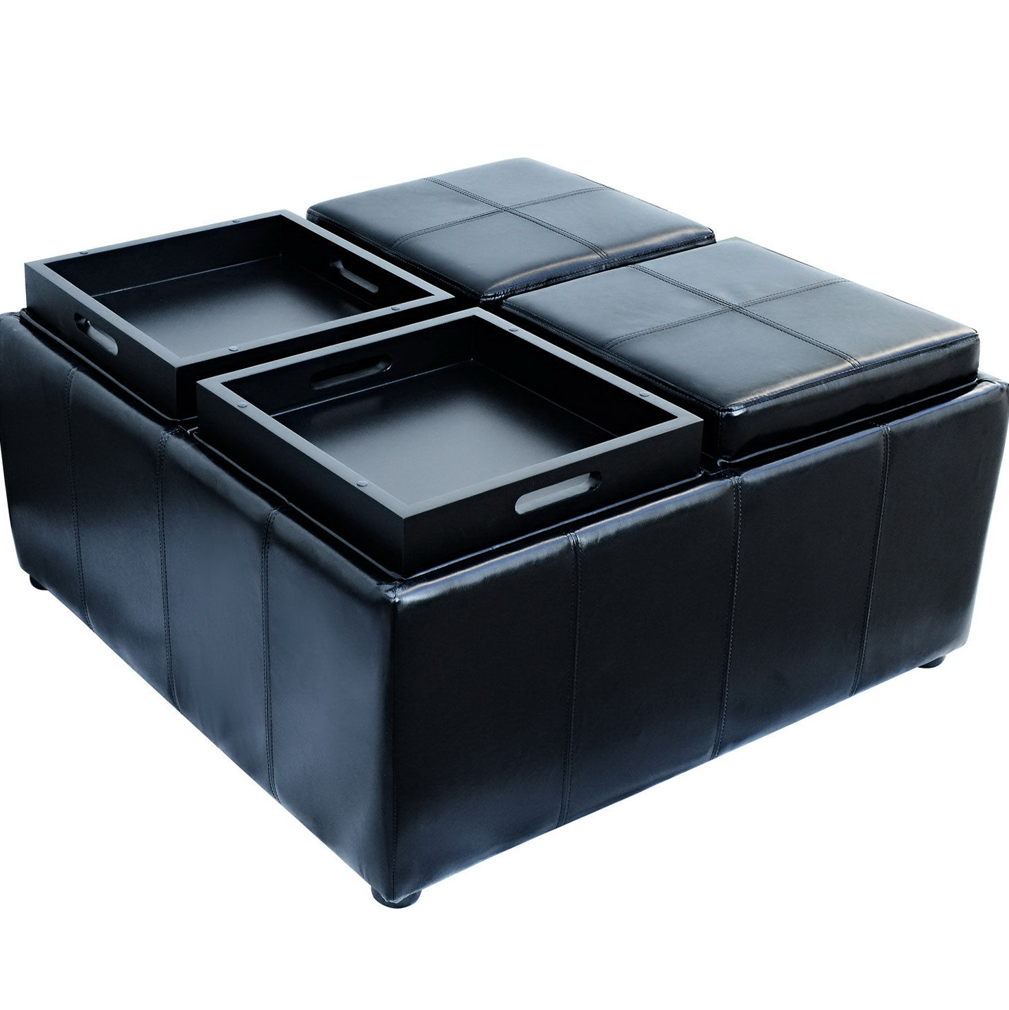 Black Leather Storage Ottoman With 4 Trays Home Design Ideas