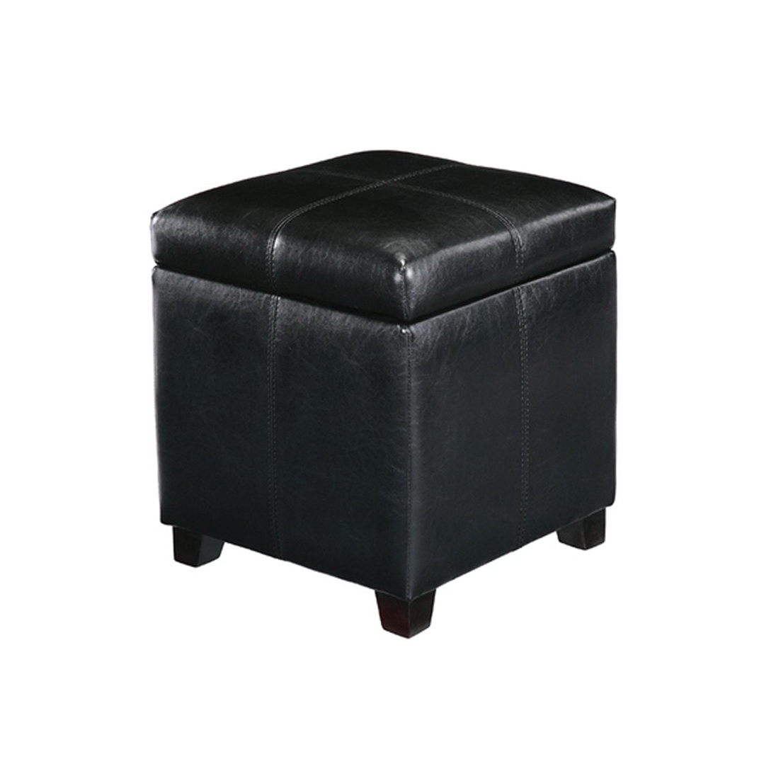 Black Square Storage Ottoman