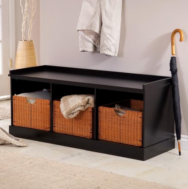 Black Storage Bench With Baskets
