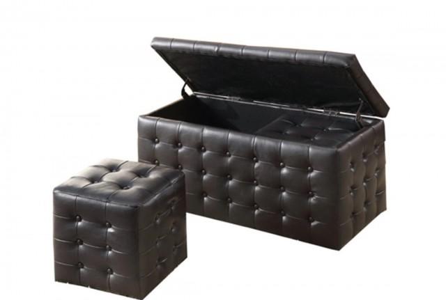 Black Storage Ottoman Bench
