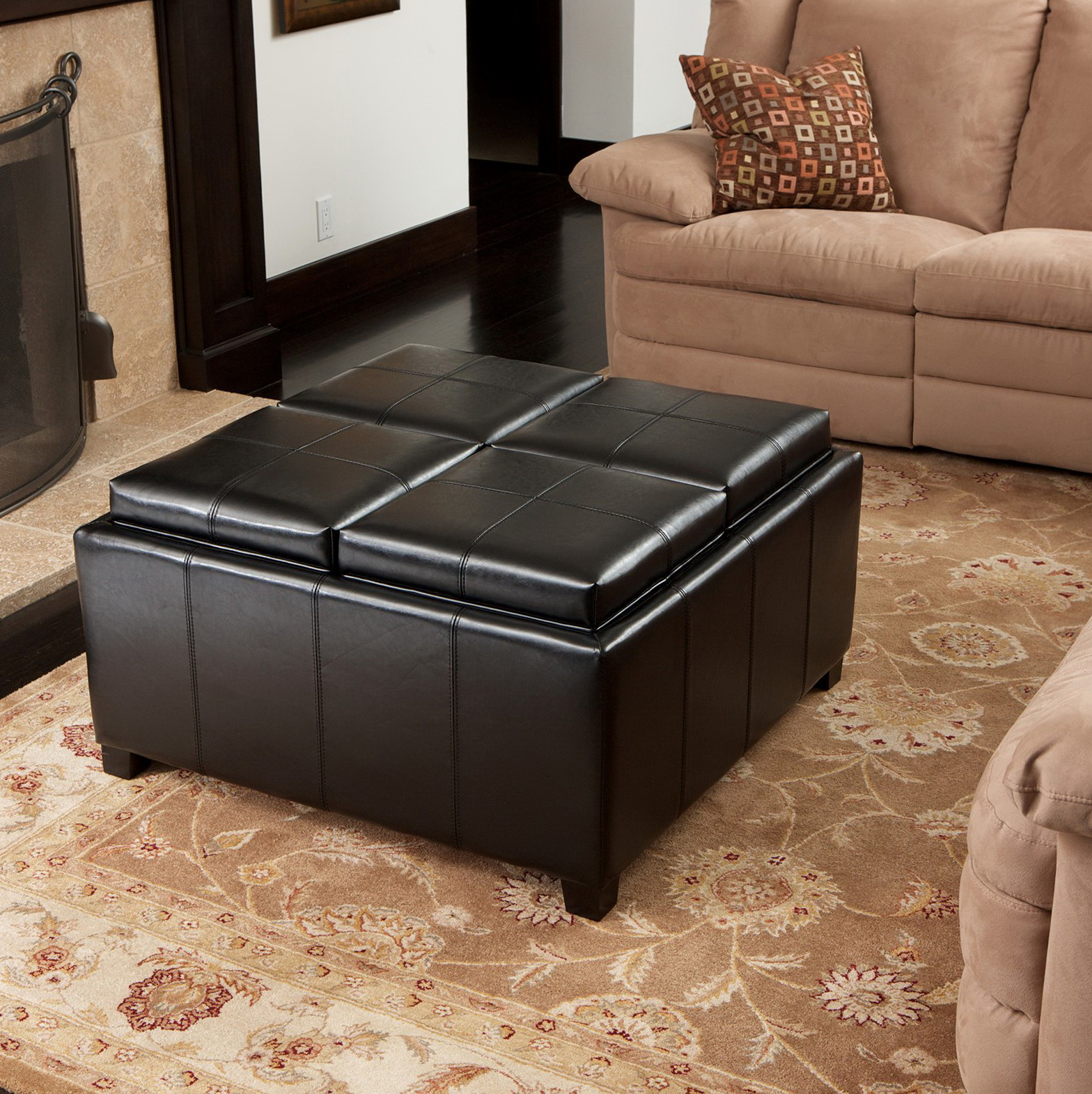Black Storage Ottoman Coffee Table With Trays
