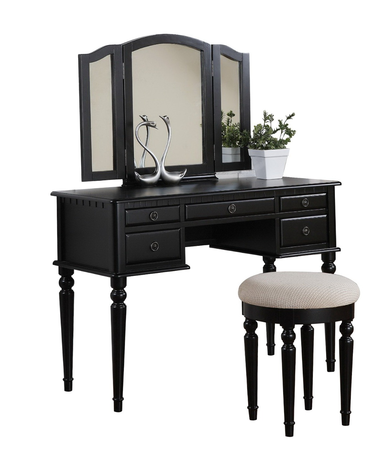 Black Vanity Desk With Mirror