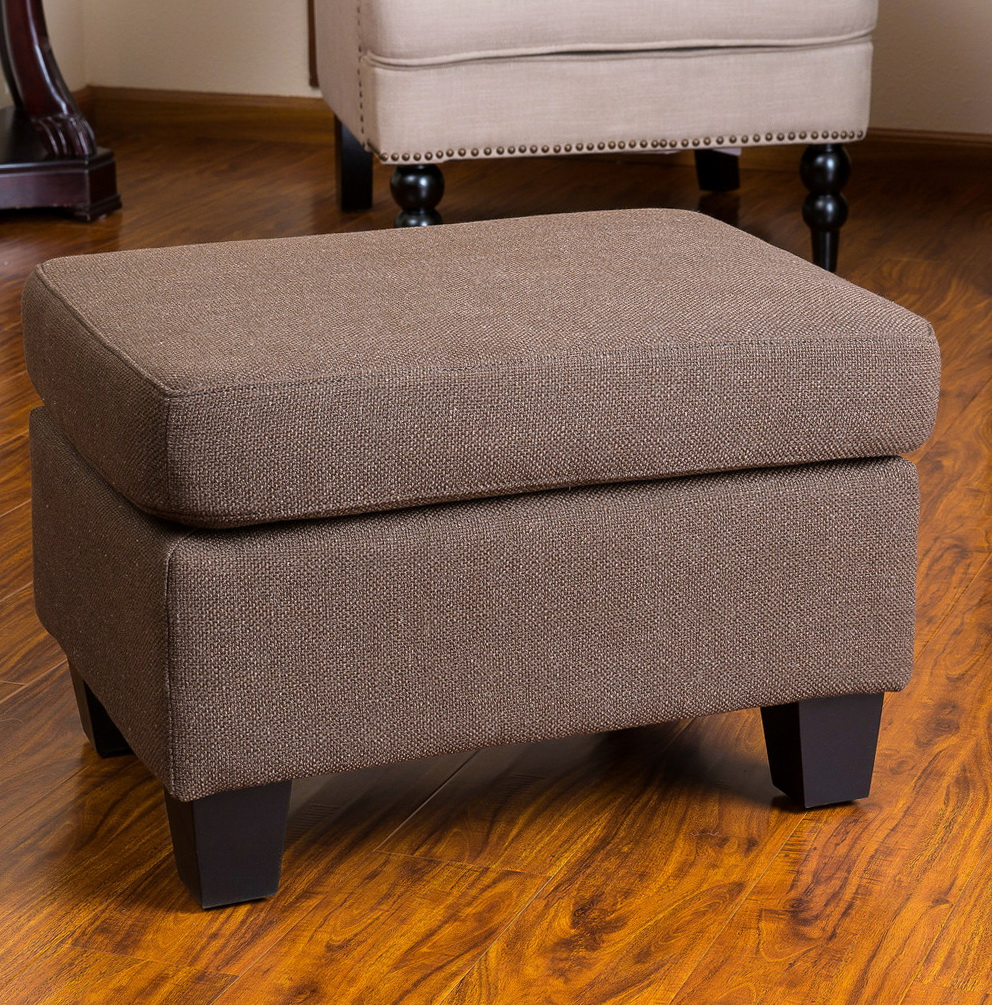 Brown fabric storage ottoman home design ideas for Storage ottomans fabric