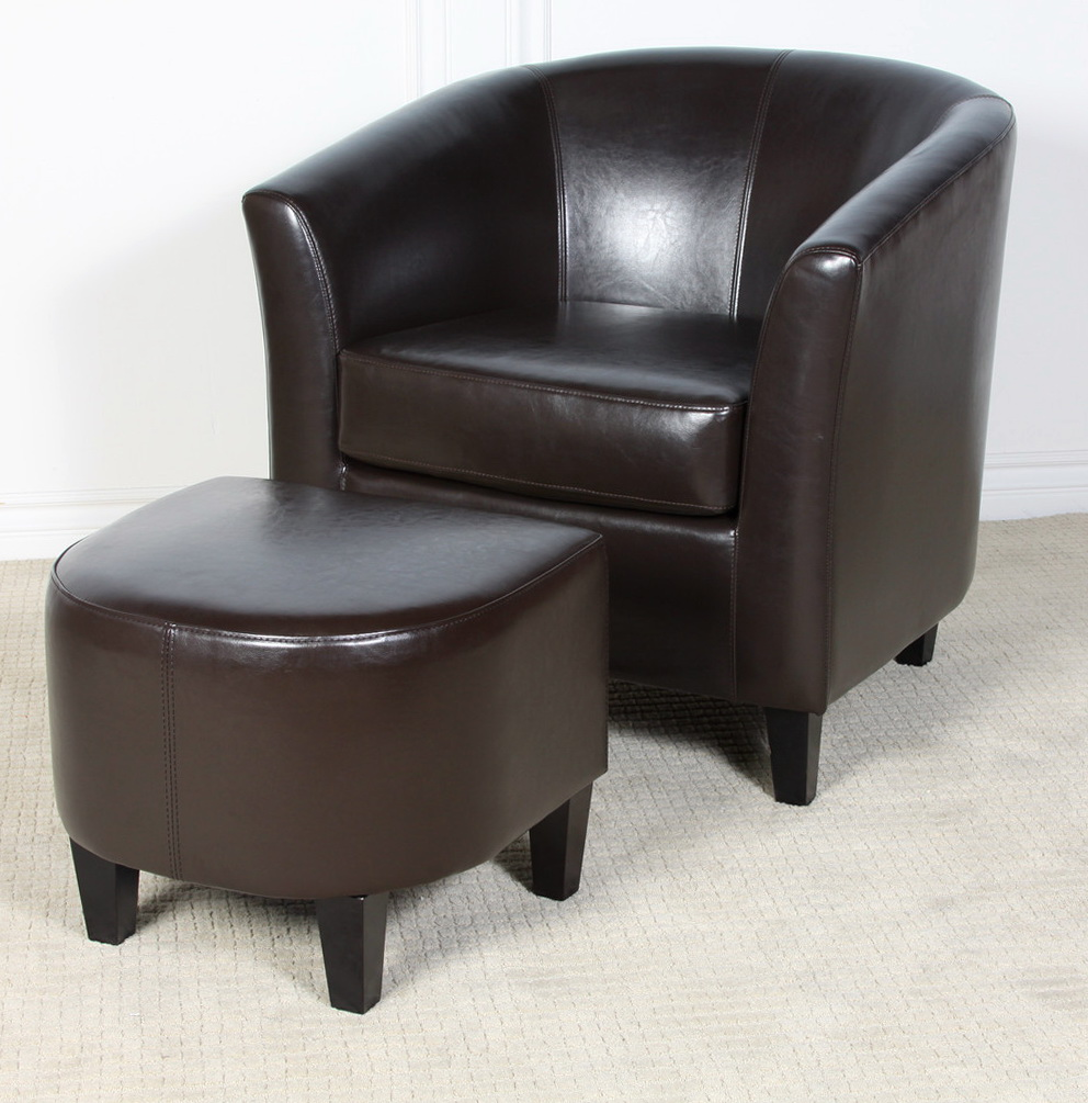 Brown Leather Chair And Ottoman
