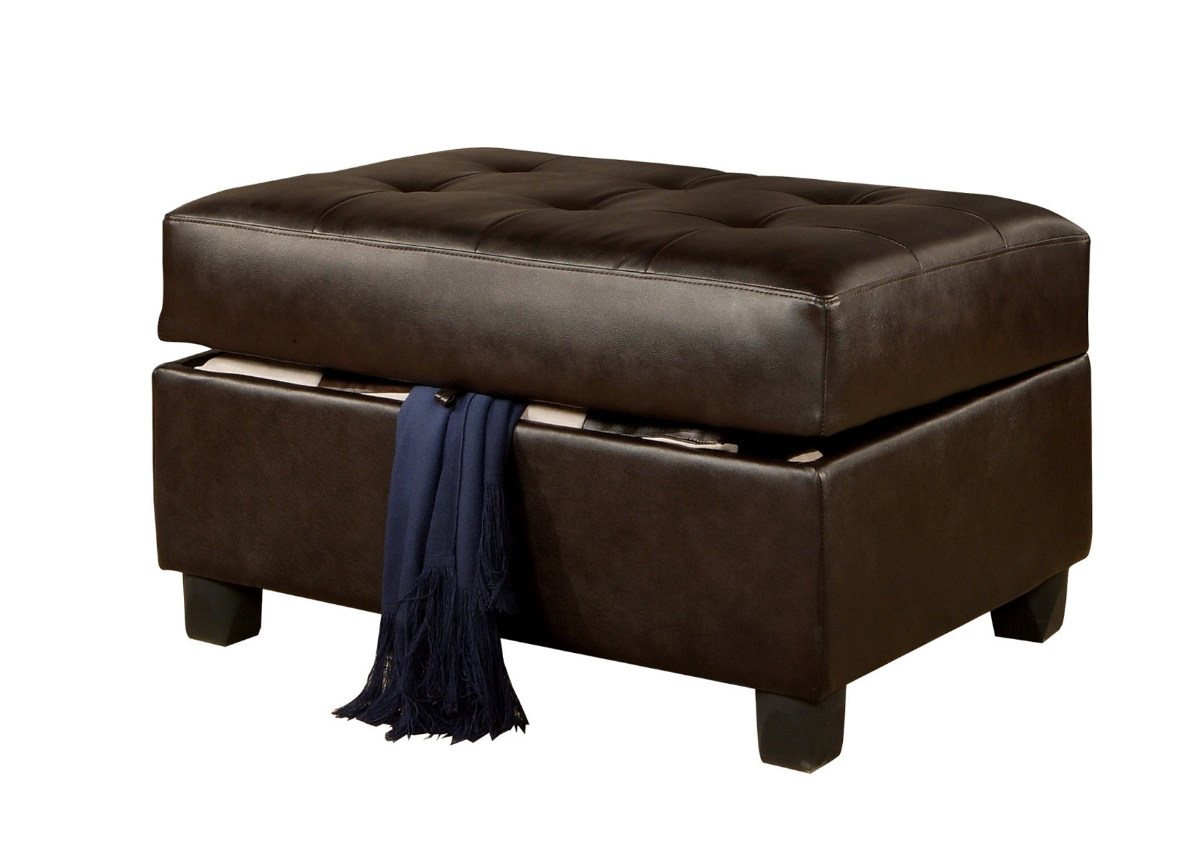 Brown Leather Ottoman Coffee Table With Storage
