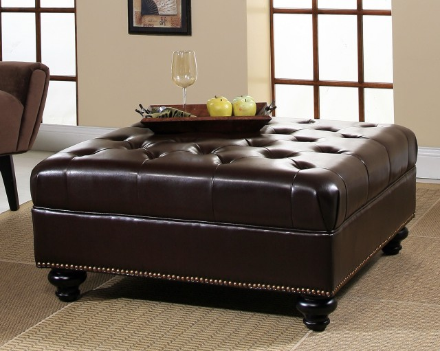 Brown Leather Square Storage Ottoman