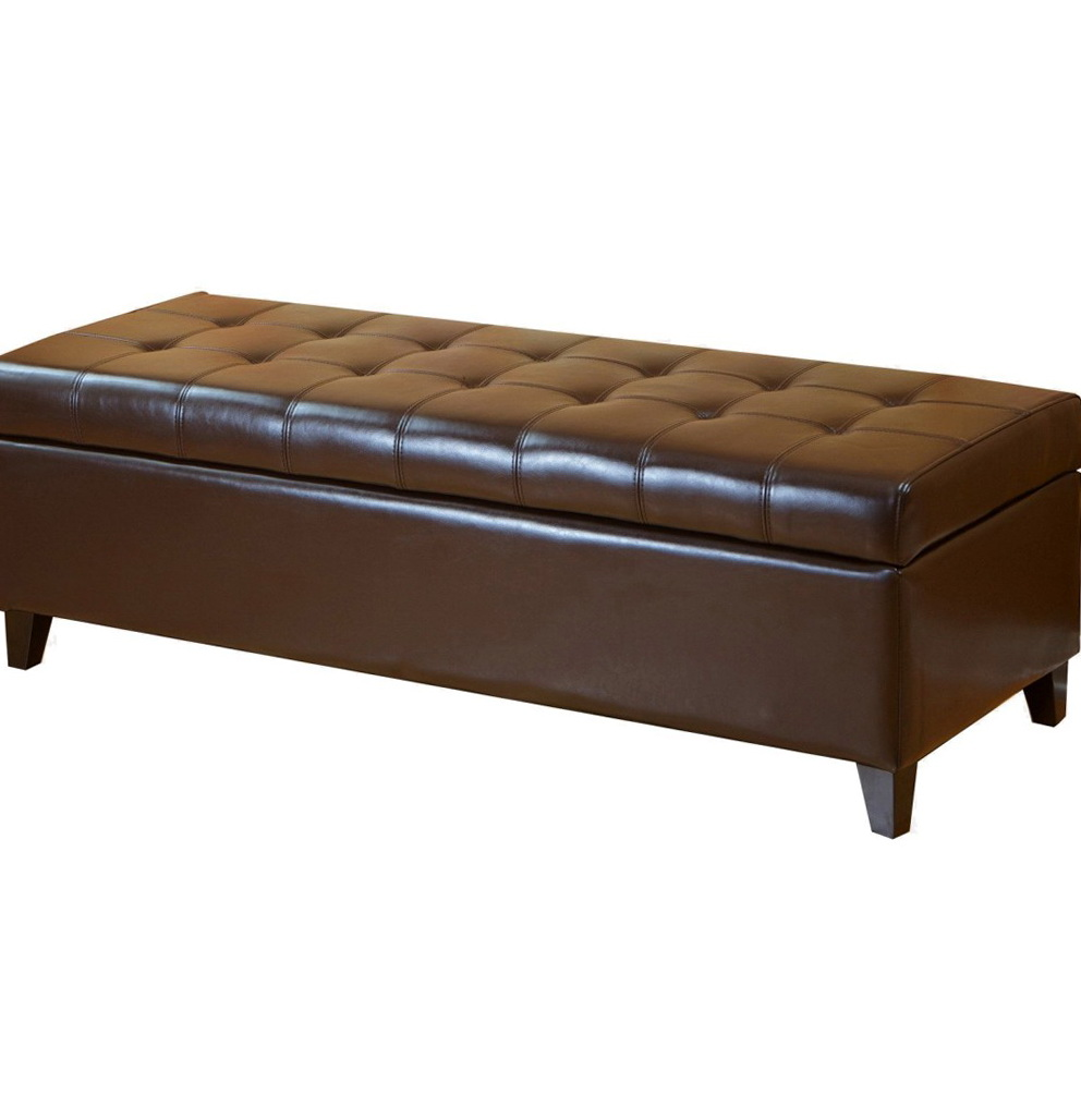 Brown Leather Storage Ottoman Bench