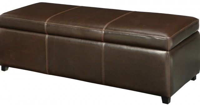 Brown Storage Ottoman Bench