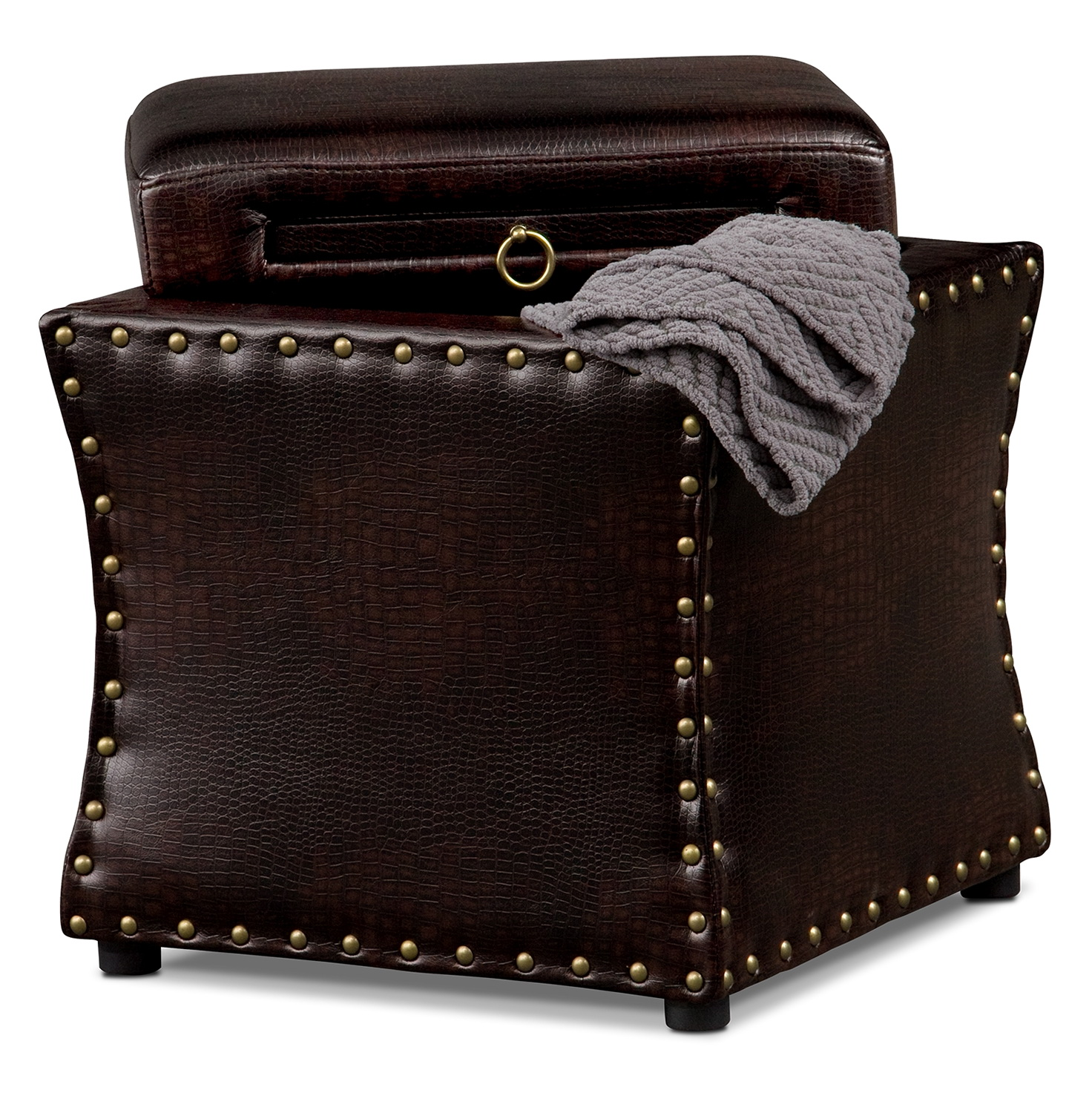 Brown Storage Ottoman With Tray