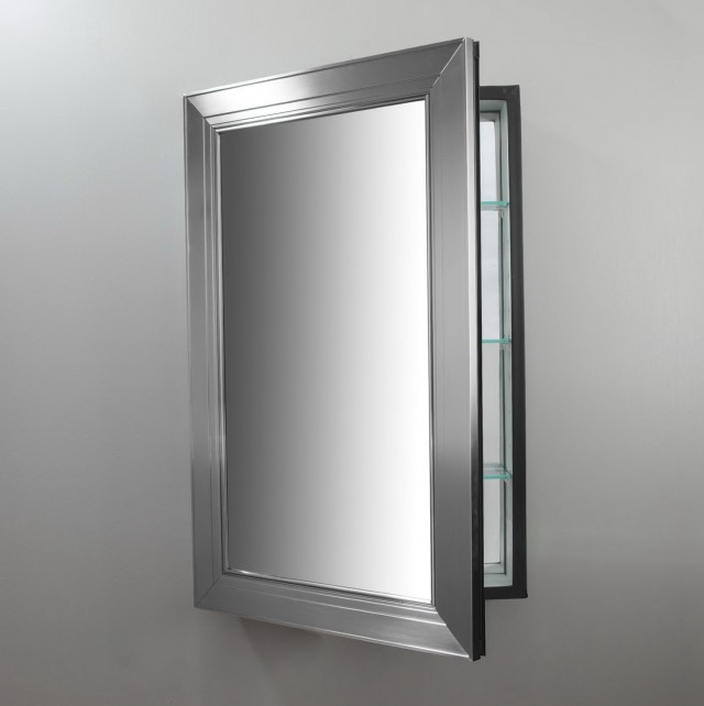 Brushed Nickel Mirror Medicine Cabinet
