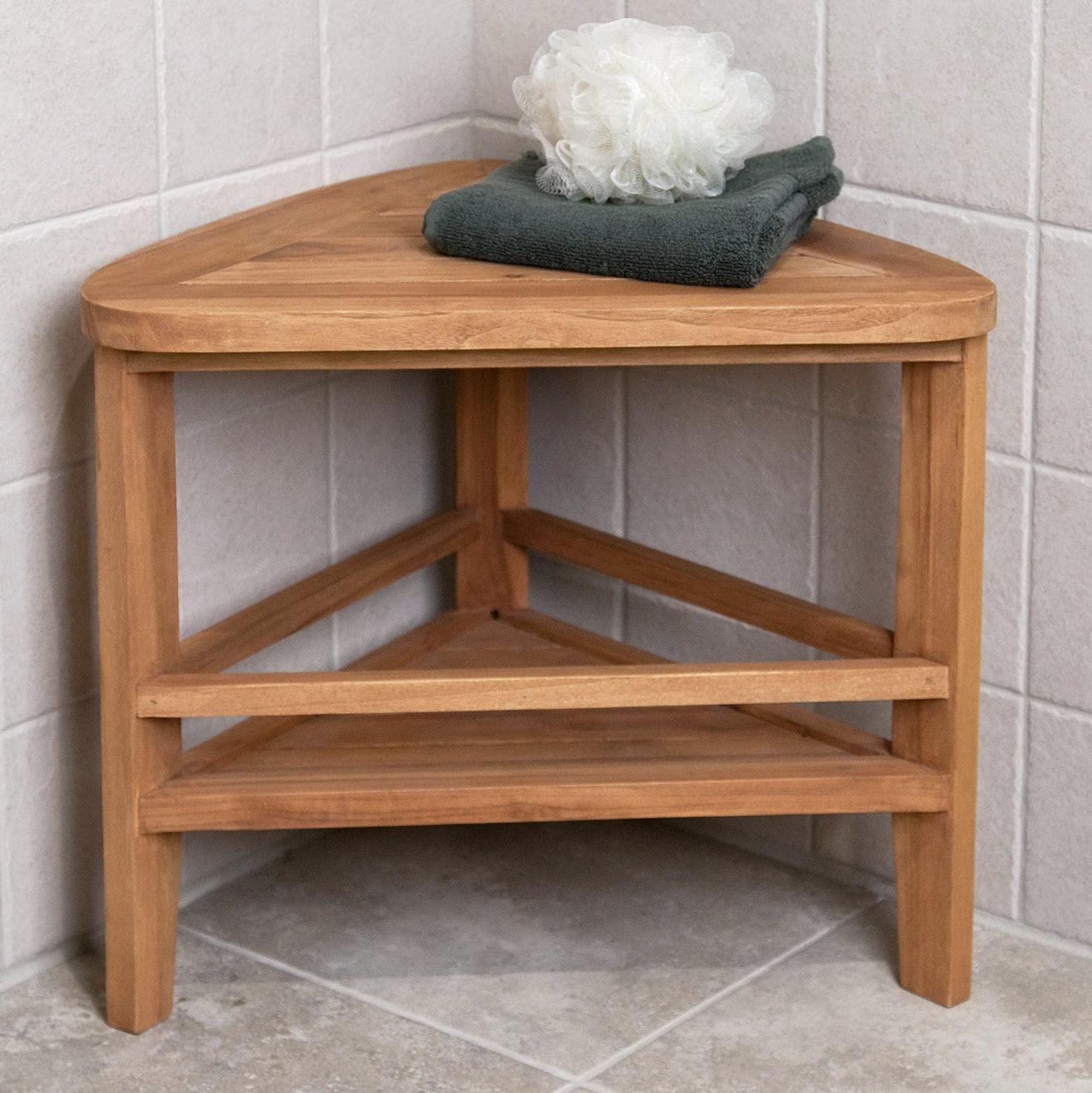 Corner Teak Shower Bench Home Design Ideas