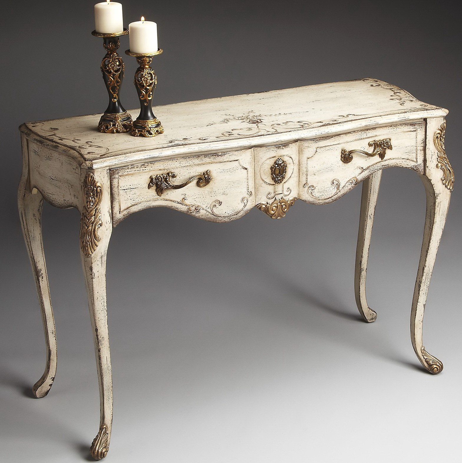 Distressed Console Table Cream